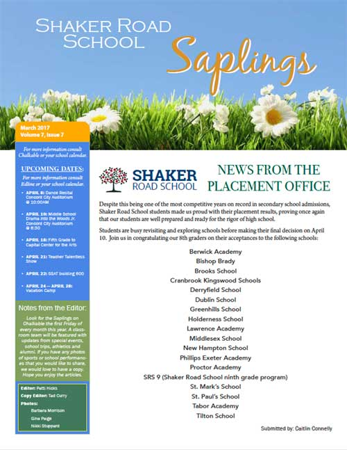 SRS March 2017 Saplings Newsletter