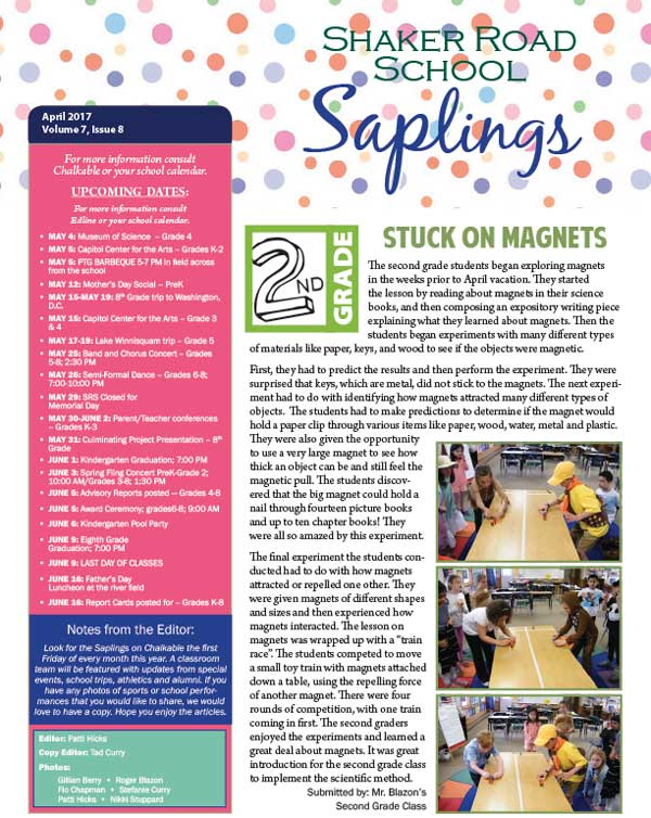 SRS April 2017 Saplings Newsletter