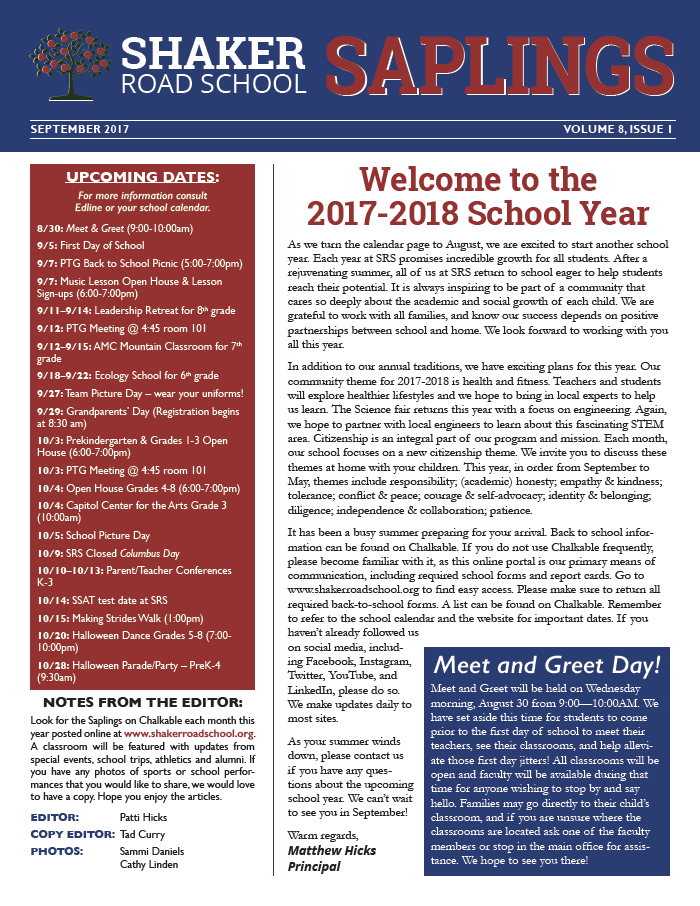 SRS September 2017 Saplings Newsletter